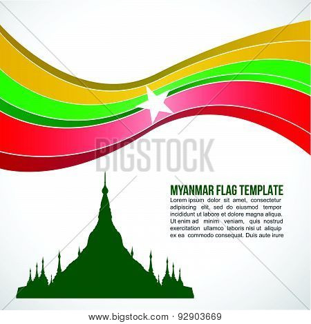 Abstract Myanmar flag wave and Shwedagon Pagoda