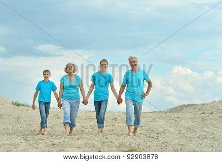 Grandparents with grandchildren on  beach