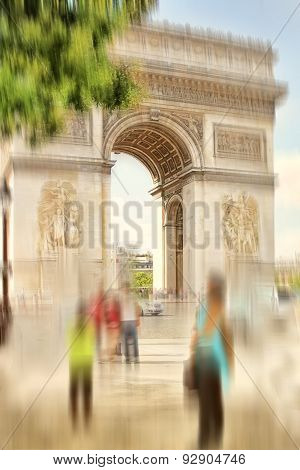 Abstract Background. Arch Of Triumph, Paris, France.  Blur Effect Defocusing Filter Applied, With Vi