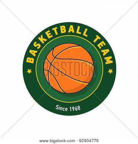 Retro Green Color Basketball Badge