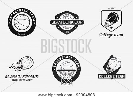 Set Of Vintage Basketball Championship Logos And Badges