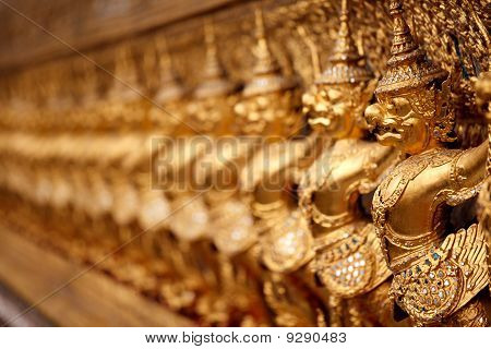 Golden garuda pattern in grand palace, Thailand