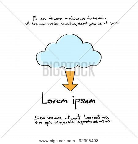 Cloud Download Arow Hand Draw Color Icon Vector