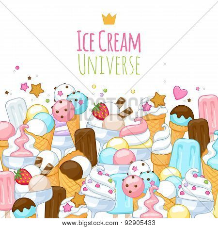 Colorful sweet ice cream icons background.