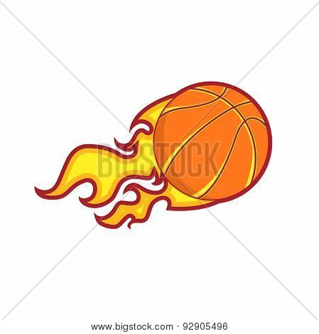 Retro Color Flying  Fire Basketball Badge