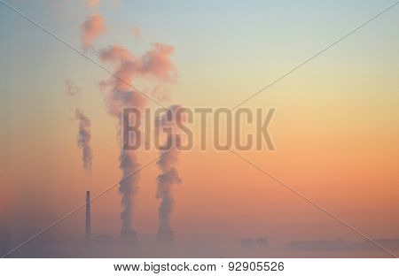 pipe with smoke background pink sky