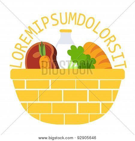 Wicker food basket flat vector illustration