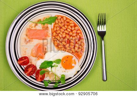 Breakfast Plate With Fried Egg, Baked Beans, Potato Scones And Smoked Scottish Salmon From Above