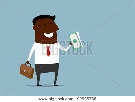Successful businessman with a handful of money