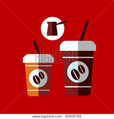 Flat cartoon takeaway coffee cups
