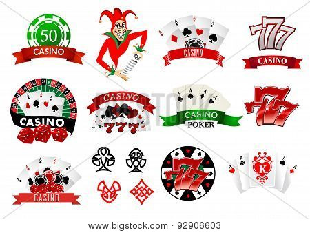 Colored casino and poker icons