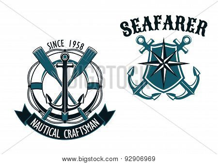 Nautical and marine themed badges