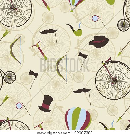Seamless pattern men's set Bicycle bow arrow hat top