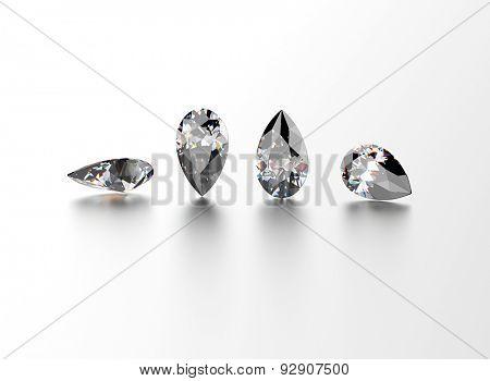 Pear shape gemstone on  white. Jewelry background