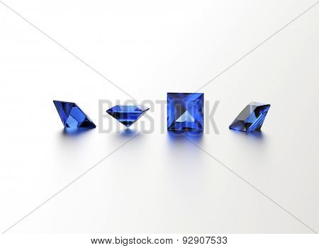 Sapphire. Square shape gemstone on  white. Jewelry background