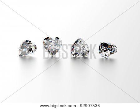 Heart shape gemstone on  white. Jewelry background