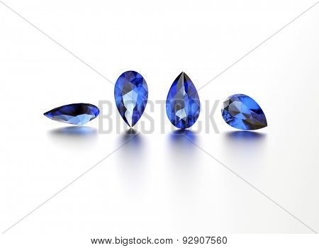 Sapphire. Pear shape gemstone on  white. Jewelry background