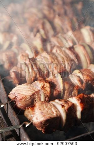 shashlik with onions. Juicy slices of meat being prepared in the heat. Delicious juicy meal