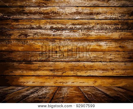 painted old wooden wall. orange room, vector