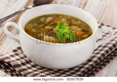 Bowl Of Soup With Lentils, Beans, Chicken And Vegetables.