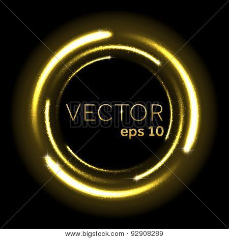 Gold glittering star dust spiral. Vector illustration