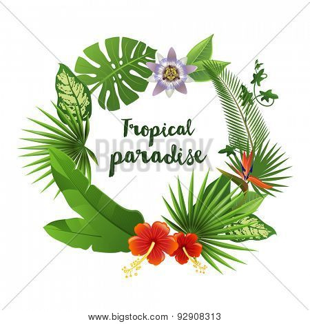 Wreath made of tropical leaves and flowers with place for your text