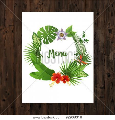 Background with menu text in tropical wreath on wooden background