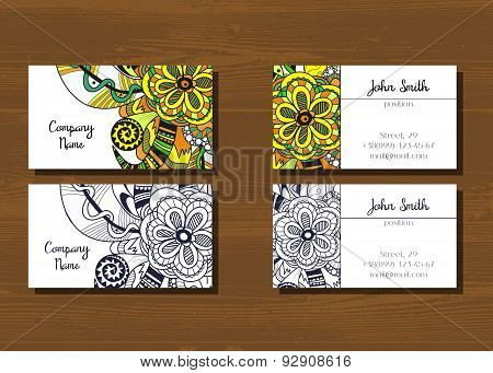 Business cards with doodle pattern