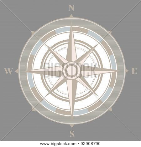 Vintage nautical or marine compass on gray background. Vector illustration
