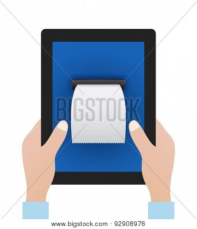 hands keep tablet pc with blank bill - business concept