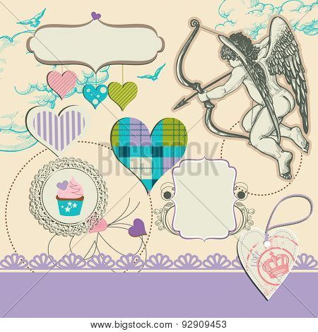 Fancy wedding design elements, hearts, cupid, frames for text