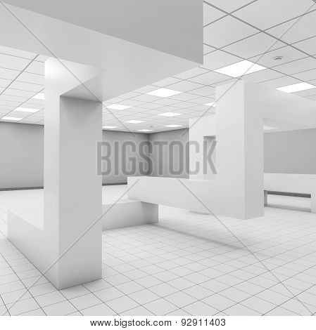 Interior With Chaotic Constructions, 3D Illustration