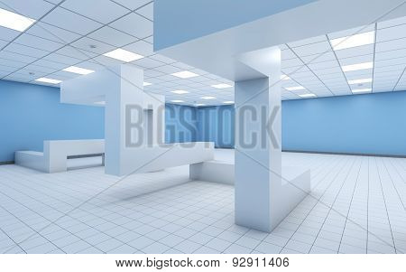 Empty Office With Chaotic Geometric Construction 3D