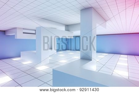 Interior With Installation And Colorful Illumination 3D