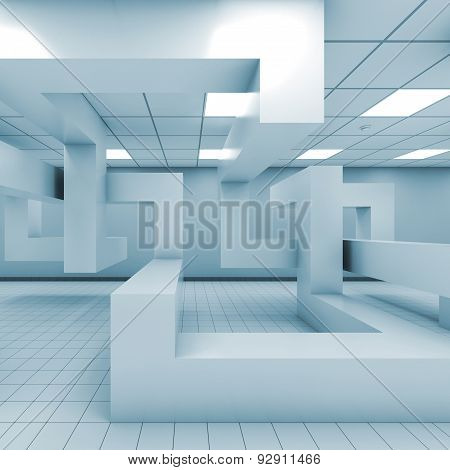 Office Interior With Chaotic Geometric Installation, 3 D