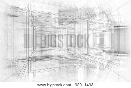 Abstract Hi-tech Drawings Background 3D Interior
