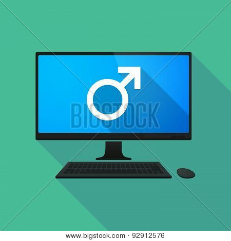 Personal Computer With A Male Sign