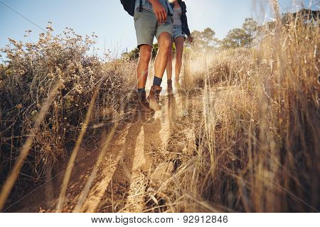 Couple Hiking On Mountain