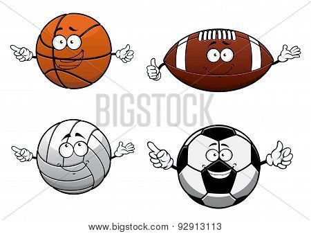 Cartooned sports balls characters with happy face