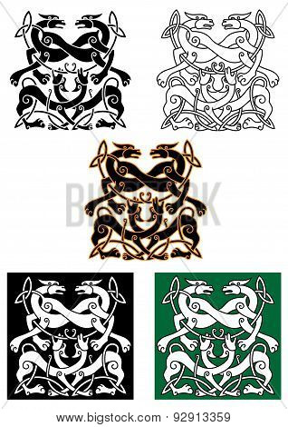Celtic mythical animals traditional ornament