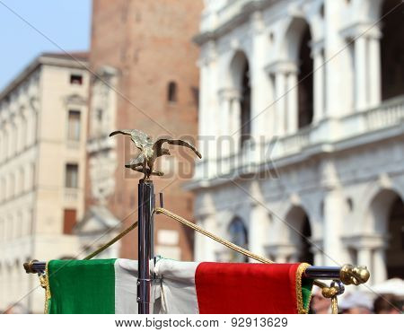 Italian Flag Of Army Musical Band And The Palladian Basilica