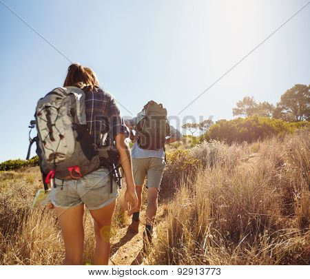 Hikers Walking Through Mountain Trial