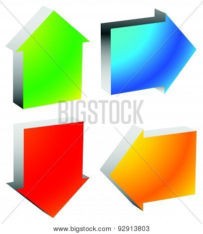 Colorful Bold Arrow Icons. Arrows Pointing To Every Direction. Left, Right, Up, Down Arrows. (vector