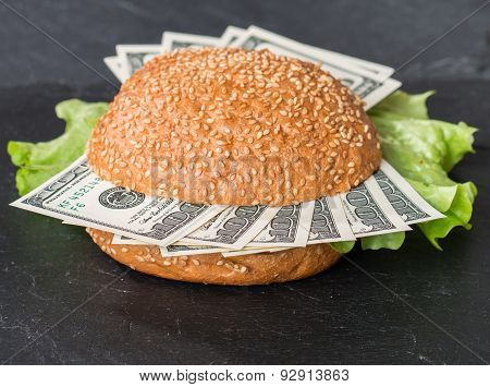 Hamburger With Dollar Bank Notes