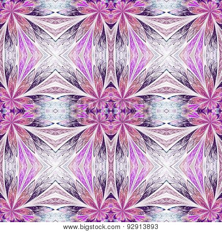 Symmetrical Flower Pattern In Stained-glass Window Style On Light. Pink And Purple Palette. Computer