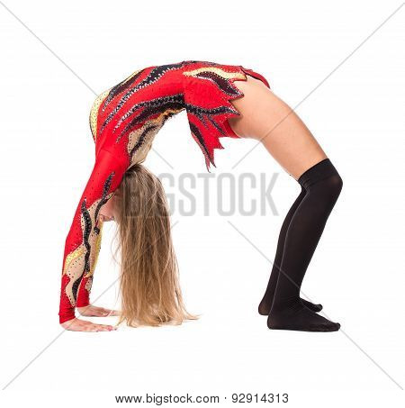 Girl is pushing up into a bridge position.