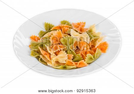 Pasta penne rigate on plate.