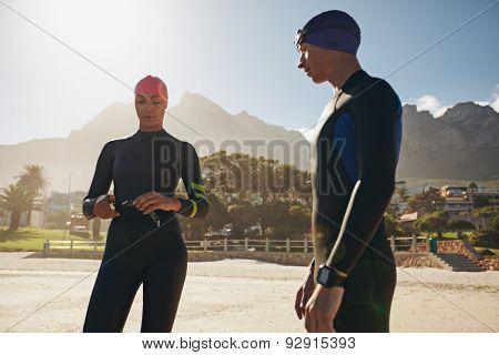 Triathletes Preparing For The Race