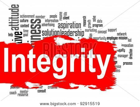 Integrity Word Cloud With Red Banner