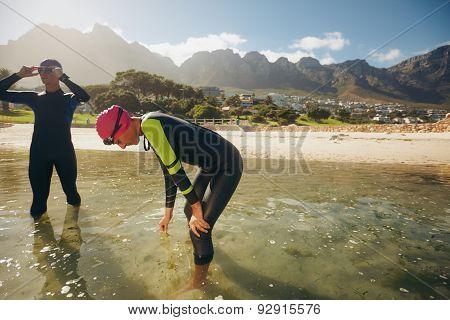 Athletes Resting After Triathlon Training Session